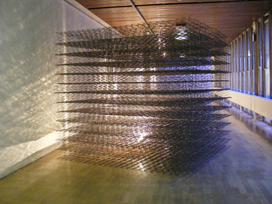 'Simple Harmonic Motion' (2010)  26 Mattresses, 1 inspection lamp (1800 x 1800 x 1800 mm)