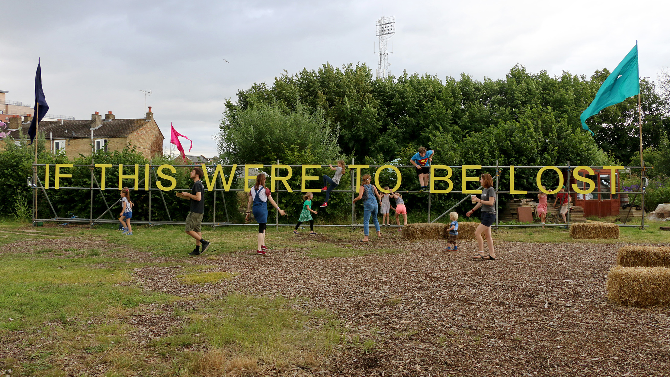 Jessie Brennan, If This Were to Be Lost, 2016, painted birch plywood on scaffold, 1.9 x 19 m, situated at The Green Backyard, Peterborough. Photograph by Jessie Brennan