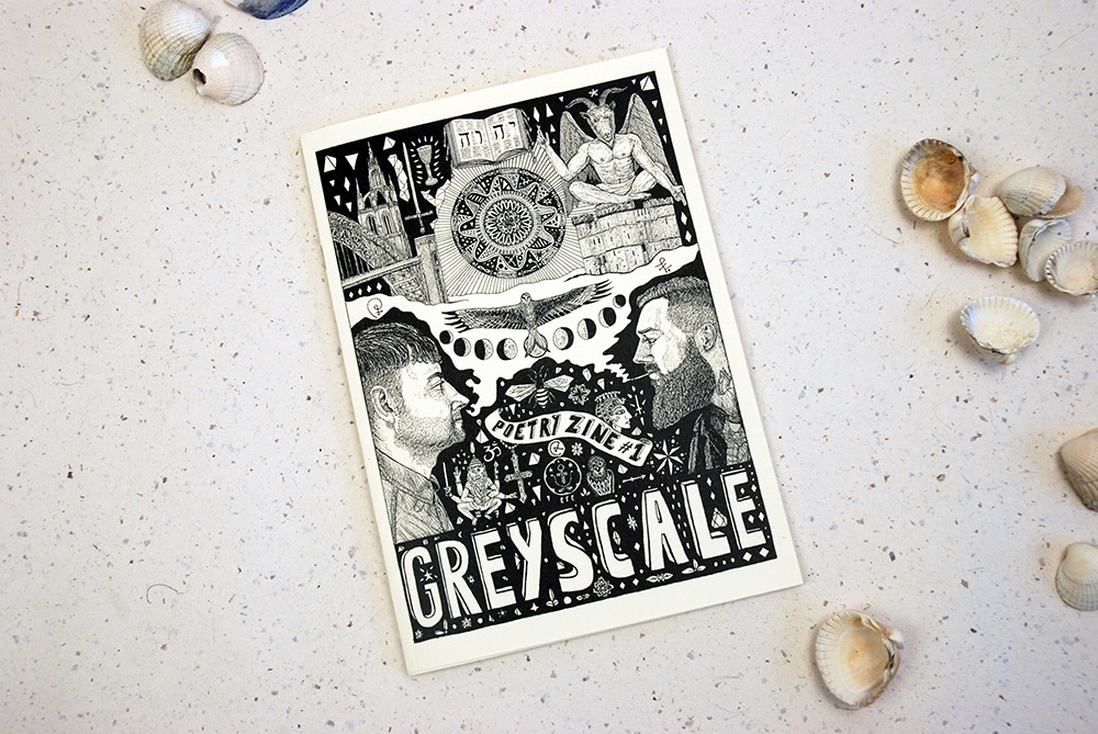Greyscale Poetry Zine Issue 1  A compendium of seventeen poems by S.R.Telford and E.F.English.   Edited BY E.F English and S.R.Telford  Cover Illustrations By E.F English