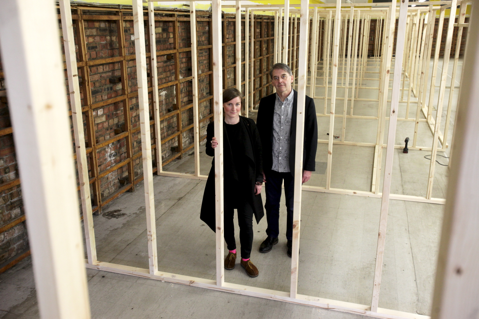 Charlie Gregory, Director, The NewBridge Project, (left) with David Butler, Senior Lecturer in Fine Art at Newcastle University at The NewBridge Project : Gateshead (Image: Mike Urwin)