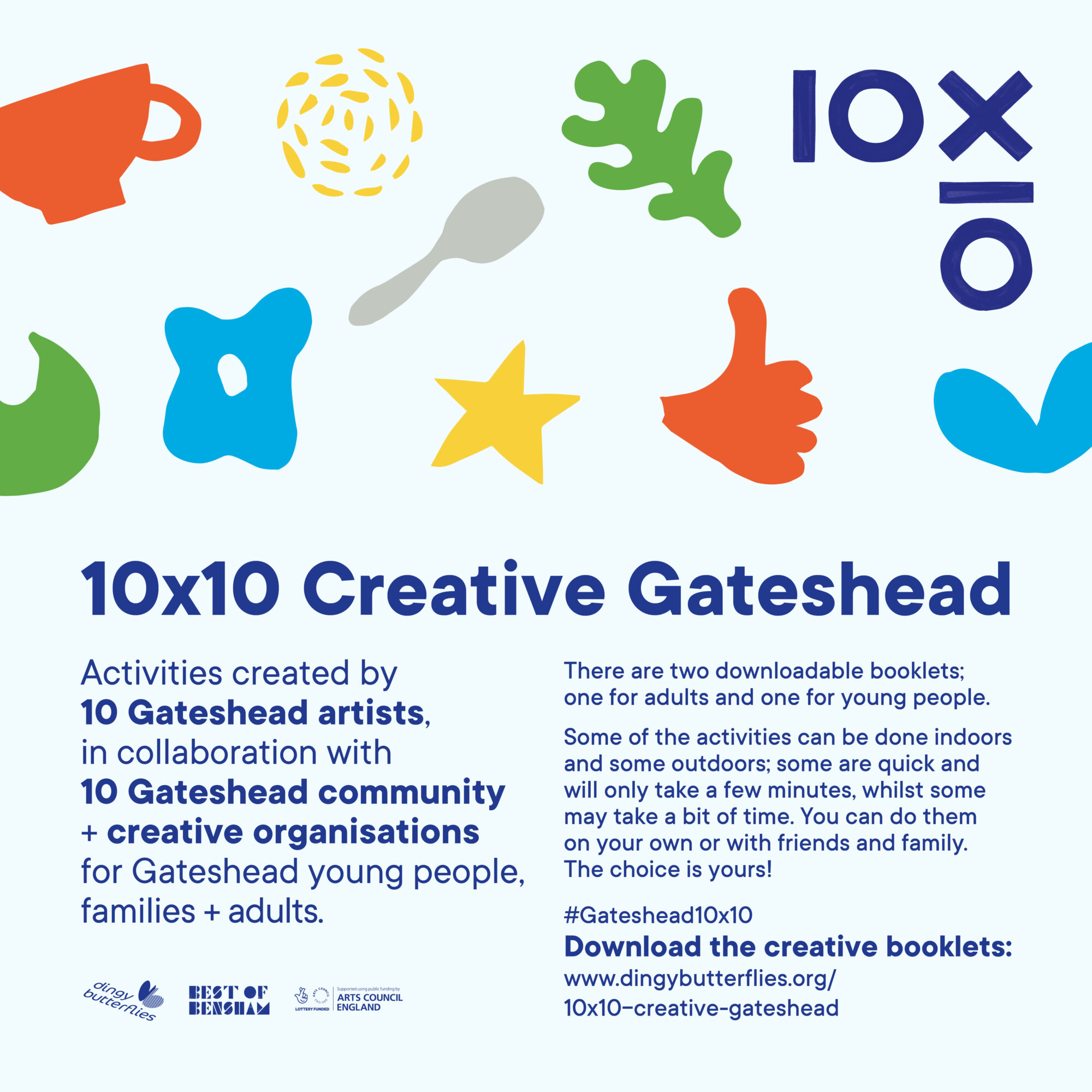 A poster for 10x10 Creative Gateshead. Blue writing on a light blue background with colourful abstract icons.