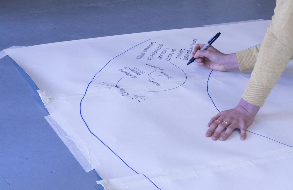 An image of someone's hands writing on a big piece of paper, to signify collective working methods.