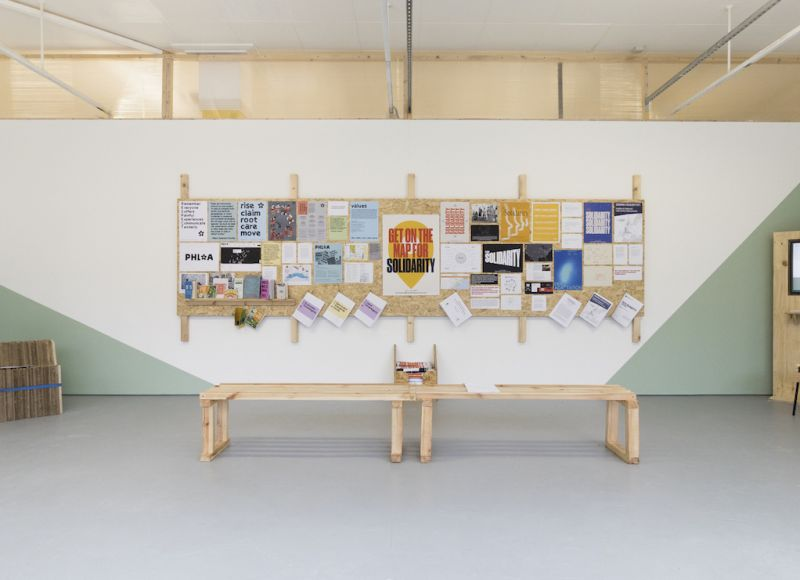 Interior of The NewBridge Project gallery space, during the For Solidarity Exhibition.