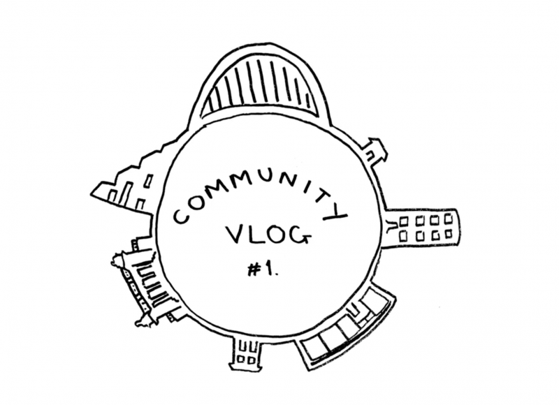 An illustrated logo for the Community Vlog