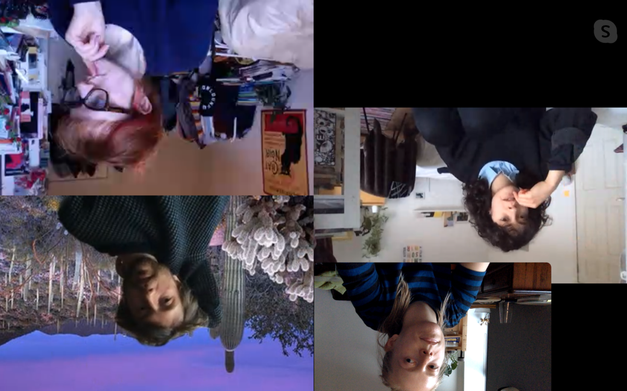 Upside town collaged screenshot of 4 people on Skype. One person has a virtual dreamy purple desert scene behind and the others are in domestic spaces. All have thinking expressions on their faces and 3 are looking at the camera.