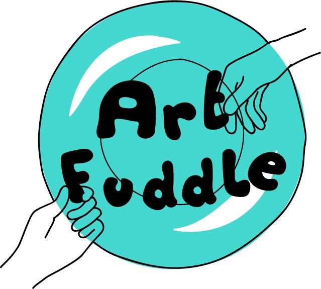 Art Fuddle Logo. Digital drawing of 2 hands reaching into a turquoise circle. They're touching the black bubble writing which spells 'Art Fuddle'.