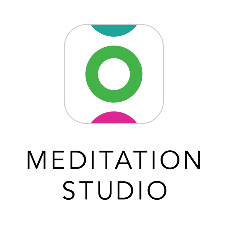 The logo for the meditation studio. A white icon with a green circle and black writing saying 'meditation studio'