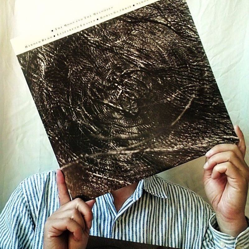 A person in a blue and white striped shirt holding a vinyl cover infront of their face. The vinyl has a cream banner and small writing along the top and a large sepia swirling abstract image. They're infront of a cream wall and are lit by daylight.
