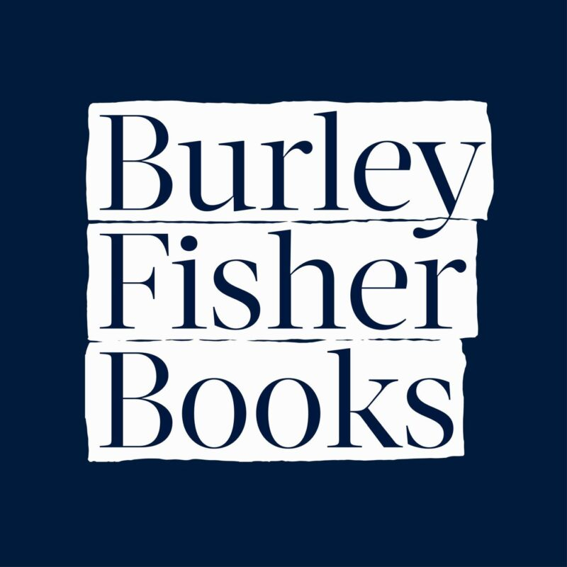 Image in a white banner on a navy background reading Burley Fisher Books.