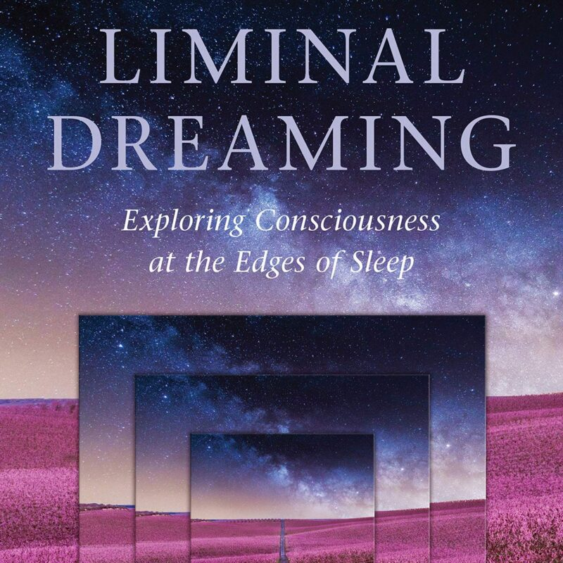 Cropped image of a front cover of the book 'Liminal Dreaming' 'Exploring Consciousness at the Edges of Sleep'. Going towards the centre of the image is an infinity series of the same photo of a purple field with a dark starry sky. The images collapse in on one another.