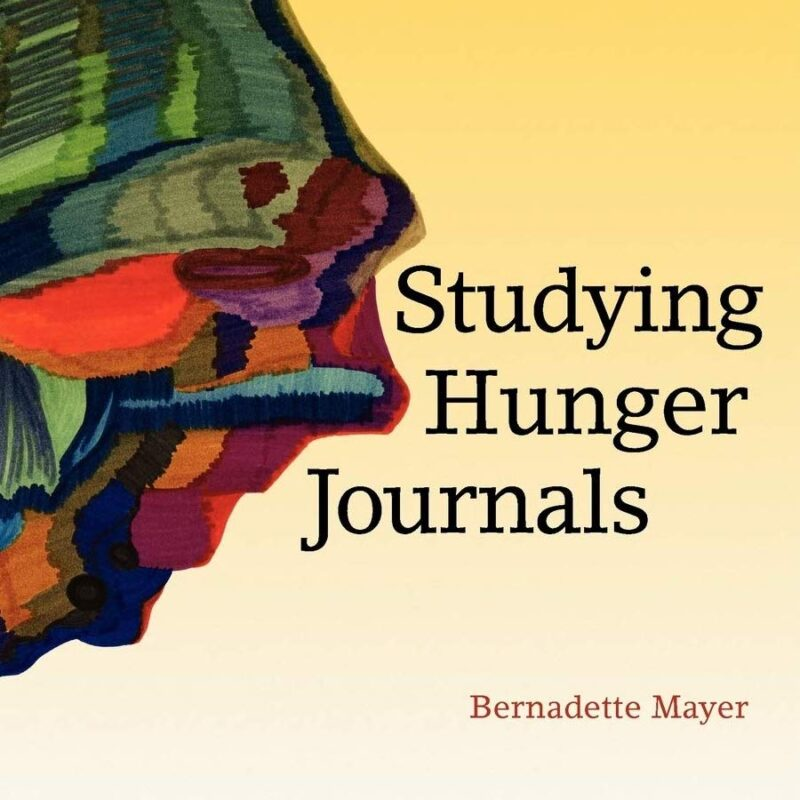 Light yellow background with black and brown writing saying 'Studying Hunger Journals Bernadette Mayer'. In the top left corner is a felt tip abstract drawing of an organic bulging shape in earthy colours.
