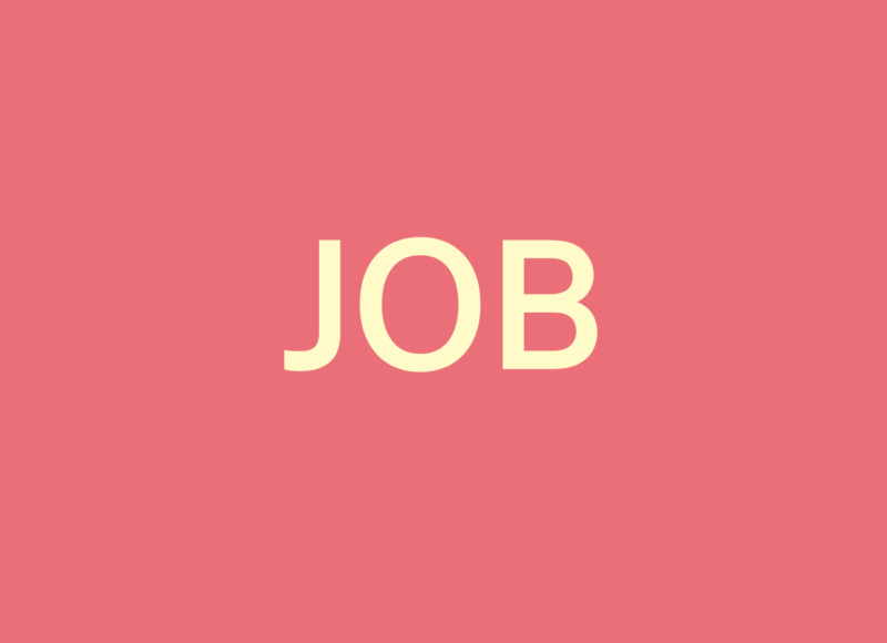 Pink background with turquoise lettering saying JOB in capital letters in pale yellow