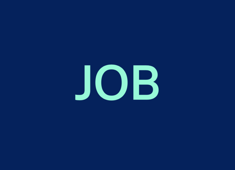 Navy blue background with turquoise lettering saying JOB in capital letters